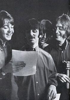 8-The Beatles on set for filming the last scene of Yellow Submarine, Twickenham studios, 25 January 1968.
