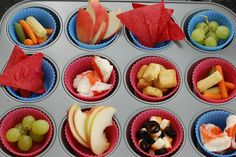 Separate everyday snacks for kids in cupcake holder - nice way to keep track of what and how much they are eating.