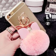 iPhone 6/6S, 6/S Plus, 5/5S - Cushy Pom-Pom, Bling Bow Case in Assorted Colors