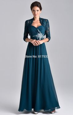 Aliexpress.com : Buy 2015 New Style Rhinestones Straps A Line Elegant Teal Mother Of The Brides Dress With Lace Jacket Long Gray Chiffon from Reliable dresse suppliers on pretty_girl | Alibaba Group