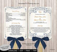 "Wedding program fan template DIY program fan Instant download wedding word.doc & pdf.format   ceremony program 5x7"" printable program blue"