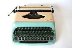 Stunning vintage Consul Typewriter blue/beige- Made in Czechoslovakia on Etsy, £120.23
