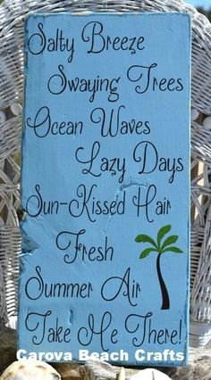 Large Beach Sign, Beach Decor, Summer Poem, Palm Trees, Salty Breeze Swaying Trees, Ocean Waves Take Me There, Wood Sign, Beach House, Room, Nautical Sea Summer Sign, Vacation Memories, Beaches