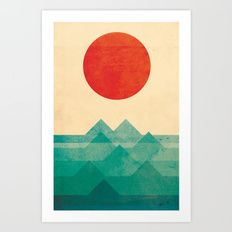 Art Print featuring The Ocean, The Sea, The Wave by Picomodi