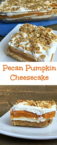 These Pecan Pumpkin Cheesecake Bars are a fun twist on your traditional pumpkin pie and are perfect to add some variety to your desserts this holiday season!
