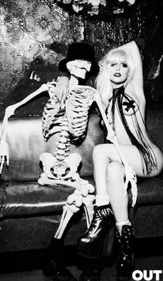 Lady Gaga and Mr. Skeleton  -- Ellen von Unwerth photoshoot