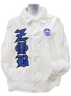 Zeta Phi Beta Line Jacket with Old English Greek Letters and Crest, White  Item Id: PRE-XJ-ZFB-OLD-ENG-LTR-CREST-WHT  Price:  $79.00