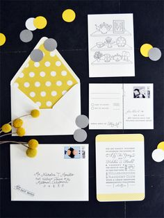so adorable! I can't decide how to mesh a fun, playful side and romance. Yellow Grey Weddings, Wedding Grey, Yellow Wedding, Rustic Wedding, Our Wedding, Dream Wedding, Grey Wedding Invitations, Wedding Stationary, Wedding Ideas Board