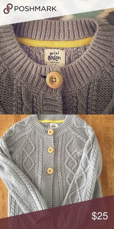 Mini Boden cardigan Super soft cable knit cardigan with wood buttons. . Great condition. Very little pilling. Size 5-6. Mini Boden Shirts & Tops Sweaters