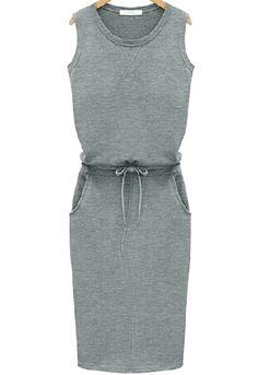 Grey Sleeveless Drawstring Slim Pockets Dress 20.83