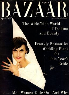 Mary Jane Russell on the cover of Harper's Bazaar, April 1957. Photo by Richard Avedon.