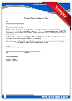 Free Printable Notice To Tenant To Leave Or Pay Legal Forms You Must, You Can Do, Leave Template, Donation Form, Power Of Attorney Form, Legal Forms, Online Form, First Photograph, Free Printables
