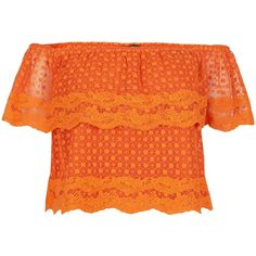 New Look Bright Orange Lace Embroidered Trim Bardot Neck Top (39 AUD) ❤ liked on Polyvore featuring tops, spicy orange, bright tops, orange top, summer tops and bright orange top