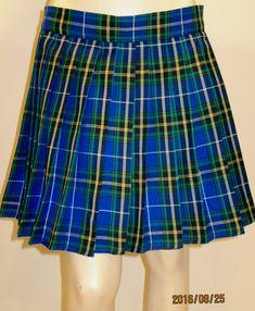 Nova Scotia Plaid Pleated SkirtBlue Yellow Black Heavy Pleats