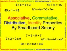 This 14-page math smartboard lesson introduces associative, commutative, distributive, and identity properties.  The students use these properties ...