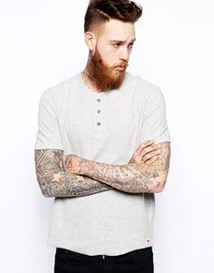 Levi's+Henley+T-Shirt+Slim+Fit+Mini+Waffle