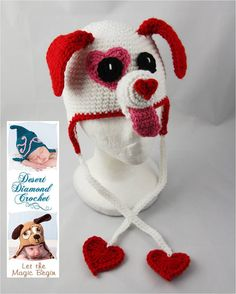 "Crochet ""Puppy Love"" hat with ear flaps. Adorable!"