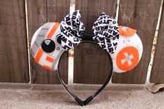 BB-8 STAR WARS Mouse Ear Headband w/ Bow by ModernMouseBoutique