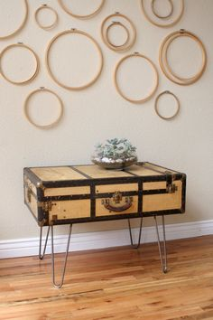 Suitcase table...  There are some who might appreciate the crochet hoops on the wall as well.
