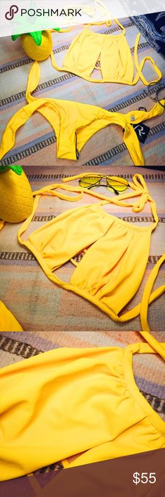 👙 Yellow Bikini 👙 Small Brazilian bottom with a medium top. 😎 Venice Rani Swim Bikinis