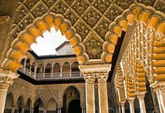 Secret Gardens, Hidden Courtyards: Alcázar of Seville, Spain    I have been here as well.  In the center of this building, there is a fountain with 4 aqueducts in the ground for the traveling water