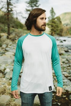 Men's Biscayne Ball Tee - Our Biscayne Ball Tee will protect you from the sun, stretches with your every movement and is so soft you'll never want to take it off. Perfect for layering or wearing on it's own. Dolly Varden, Raglan Tee, Outdoor Outfit, Mens Tees, Casual Wear, Tank Man, Turquoise, Layering, Stretches