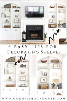 Four Easy Tips for Decorating Built In Shelves Need help decorating your shelves? I've got four easy tips on how to decorate and style built in shelves in your living room using neutral decor. Bookshelves Around Fireplace, Built In Around Fireplace, Bookshelves Built In, Furniture Around Fireplace, Diy Built In Shelves, Fireplace Built Ins, Built In Shelves Living Room, Living Room With Fireplace, House Shelves