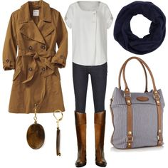 """""""fall - white, navy, brown"""" by lulums on Polyvore"""