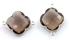 Natural Smoky Topaz Bezel Clover Gemstone Component by Beadspoint, $9.99