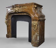 Extraordinary antique Louis XIV style fireplace with lions heads in Alabastro di Busca and gilded bronze - Marc Maison - Fireplace Mantels, Marble Piedmont Region, Alabaster Stone, Architectural Antiques, Louis Xiv, South Of France, Fireplace Mantels, Rococo, Lions, 19th Century