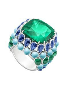 PIAGET Ringn platinum set with on cushion-cut emerald cabochon-cut natural turquoisecabochon-cut blues apphires and%2010%20cabochon-cut%20emeralds%20(approx.%201.80%20ct).