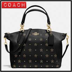 """Coach Studded Kelsey Leather Satchel Beautiful All Over Stud Small Kelsey Convertible Satchel in calf leather.  Inside zip, cell phone and multifunction pockets Zip-top closure, fabric lining Handles with 5 1/2"""" drop Longer strap with 22"""" drop for shoulder or crossbody wear 13 1/2"""" (L) x 8 1/2"""" (H) x 3 1/4"""" (W) **No Trades** Coach Bags Satchels"""