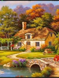 Acquista Full Drill Diamond Painting House Scenery Cross Stitch Diamond Embroidery Kit Wall Art Decor su Wish - Lo shopping divertente Beautiful Paintings, Beautiful Landscapes, Landscape Art, Landscape Paintings, Kinkade Paintings, Beautiful Places, Beautiful Pictures, Cottage Art, Thomas Kinkade