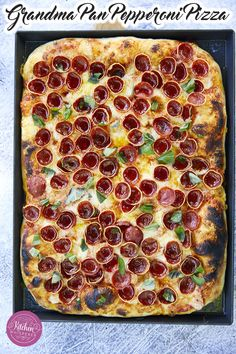 Iconic Grandma-style cheesy pan pizza topped with HORMEL® Pepperoni Cup N' Crisp. The PERFECT RONI CUP pizza at home! #pizza #panpizza #pepperoni Grandma's Pizza, Love Pizza, Perfect Pizza, Vegan Recipes Easy, Pizza Recipes, Delicious Recipes, Flatbread Recipes, Savoury Recipes, Amazing Recipes
