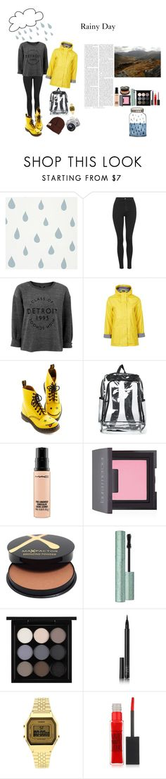 """""""Rainy Day"""" by silly-stegosaurus ❤ liked on Polyvore featuring Topshop, Dr. Martens, MAC Cosmetics, Laura Mercier, Max Factor, NARS Cosmetics, Maybelline, Krochet Kids and Eos"""