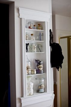 14 shabby chic niche bathroom shelf in a narrow wall - Shelterness