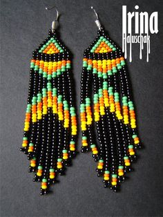 beaded earrings to make Beaded Earrings Native, Beaded Earrings Patterns, Fringe Earrings, Boho Earrings, Beading Patterns, Earrings Handmade, Beaded Bracelets, Black Earrings, Seed Bead Jewelry
