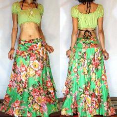 Bohemian Wrap Skirt, Gypsy Skirt,Flower Skirt, Maxi Skirt, Belly Dance Skirt, Flamenco Skirt by BlondellaLife on Etsy