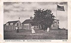 Samuel Dunning house with people, High Head, Harpswell,Maine.