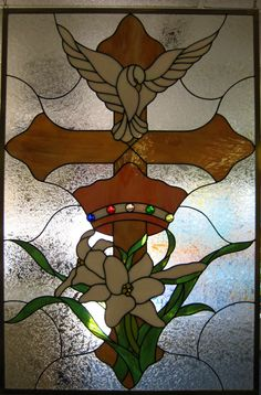 J&M Stained Glass, North Myrtle Beach, SC - Peace Dove with Cross and Lilies.