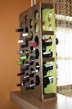 How to Build a Handcrafted Wine Rack ~ I'd enclose the size for a more finished look # diy wine rack wall how to build How to Build a Handcrafted Wine Rack Modern Wine Rack, Rustic Wine Racks, Wine Glass Rack, Wine Rack Wall, Wine Rack Design, Wine Rack Plans, Diy Rangement, Diy Room Divider, Room Dividers