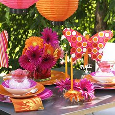 Garden Party Baby Shower Ideas Center Pieces 33 Ideas For 2019 Orange Party, Orange Wedding, Wedding Decorations, Table Decorations, Wedding Ideas, Butterfly Party, Pink Birthday, Birthday Ideas, Diy Party