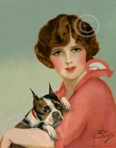Art Deco Flapper Girl with dog Print, Holding Boxer Bulldog, Vintage Fashion, Beautiful Eyes, Giclee Art Print by Earl Christy 11x14 1920s