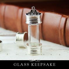 Glass Keepsake Amulet with Silver Plating. The Secret Keeper with Removable cap from Annie Howes.