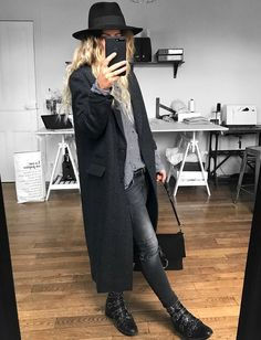 Manteau long + boots rock + fedora = le bon mix (manteau Isabel Marant, boots Givenchy - photo Meleponym)