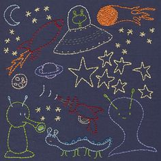 Space - rockets and ray guns and aliens - all the fun Saturday-morning-cartoon-style space images in one silly embroidery pattern from Shiny Happy World