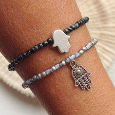Hamsa charm bracelet, Dark gray anthracite beaded bracelet with tassel,Black hamsa bracelet, simple bracelets