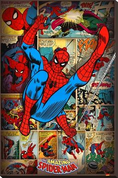The Amazing Spider-Man - Marvel Comics Poster/Print (Retro Comic Style Collage) (Size: 24 inches x 36 inches) (Poster & Poster Strip Set) Marvel Comics, Comics Spiderman, Marvel Heroes, Spiderman Poster, Poster Marvel, Logo Marvel, Amazing Spiderman, Spiderman Classic, Nightwing