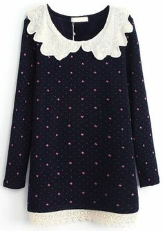 Navy Contrast Lace Collar Bow Print Dress pictures