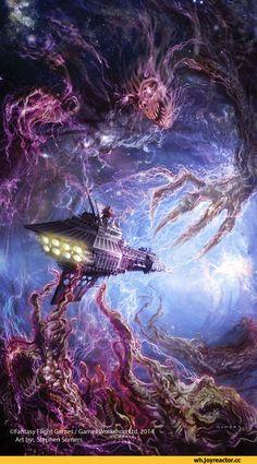 Fahtasy Flight Games / Game^Worfeshoj Art by: Stephen Somers,,warhammer 40000,фэндомы,Chaos (wh 40000),warp,wh starship